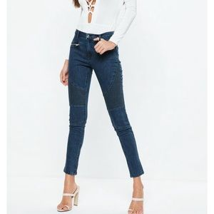 Blue anarchy double zip jeans cargo style